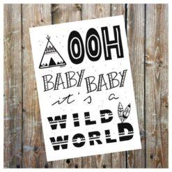 kaart - versturen - wild world - tipi's - kraamvisite - geboortekaart