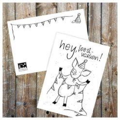 kaart - verjaardagskaart - post versturen - feestvarken