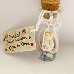 Geluk in een flesje - Flesje met boodschap - Gelukspoppetje